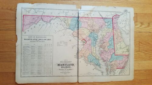 Antique/Hand Colored Railroad Map of Maryland, Delaware & DC - 1873