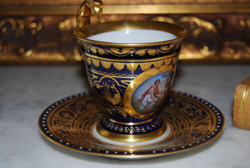 WONDERFUL ROYAL VIENNA HP IMPERIAL NEOCLASSICAL COBALT BLUE CABINET CUP & SAUCER
