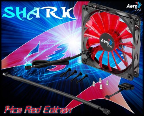 AeroCool 140mm quiet case cooling fan with RED LED Shark 14cm Devil Red Edition