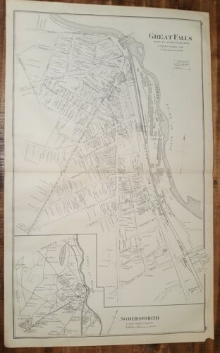 Antique MAP - GREAT FALLS & SOMERSWORTH STRAFFORD CO., N.HAMPSHIRE - 1892 ATLAS