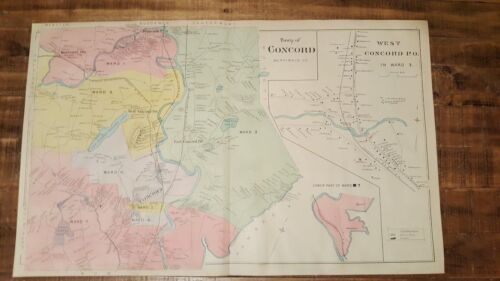 Antique MAP - TOWN OF CONCORD - MERRIMACK CO. - N.HAMPSHIRE - 1892 ATLAS