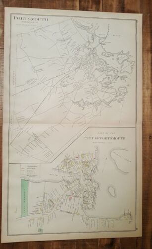 Antique MAP - CITY OF PORTSMOUTH - N.HAMPSHIRE - 1892 ATLAS