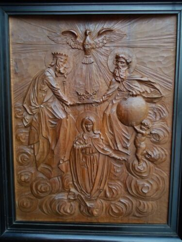 ANTIQUE RELIGIOUS BLACK FOREST CARVED WOOD WALL PLAQUE-HOLY JESUS-CHRISTIANITY