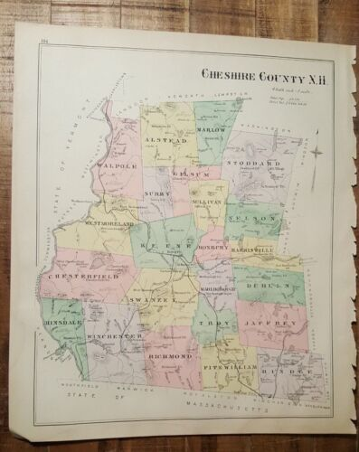 Antique Colored MAP - CHESHIRE COUNTY or DEERING - NEW HAMPSHIRE - 1892 ATLAS