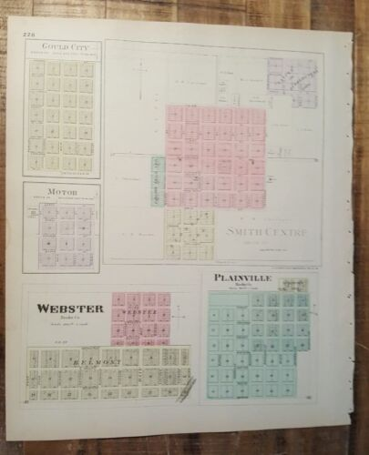 Antique Colored MAP - WEBSTER, PLAINVILLE or SMITH COUNTY - 1887 KANSAS ATLAS