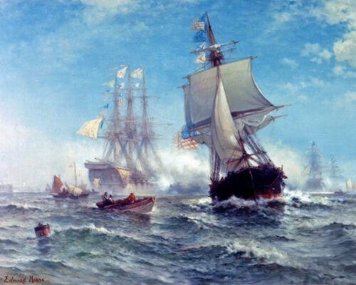 First Naval Salute To US Navy - USS Ranger Oil Painting Real Canvas Art Print
