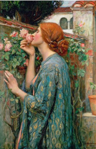 Large Young Woman Girl Smelling Roses Flowers Oil Painting Real Canvas Art Print