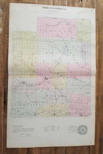 Antique Colored MAP - GREENWOOD COUNTY  - 1887 KANSAS ATLAS