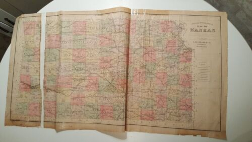 Antique Colored MAP - OFFICIAL TOPOGRAPHICAL MAP OF KANSAS - 1887 KANSAS ATLAS