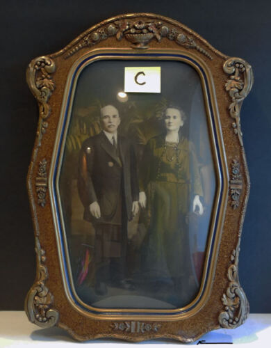 Gesso Wood FRAME w/ CONVEX Bubble Glass & carved CROWN **C**