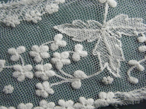 ANTIQUE/VINTAGE FINE NET LACE TAMOUR STYLE FLORAL & LEAF LACE COLLAR