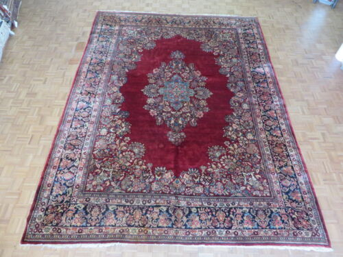 10'5 X 13'11 Hand Knotted Red Antique Persian Sarouk Oriental Rug G1492
