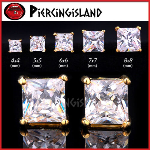 18K YELLOW GOLD FILLED CT SQUARE SIGNITY DIAMOND MENS LADIES KIDS STUD EARRINGS