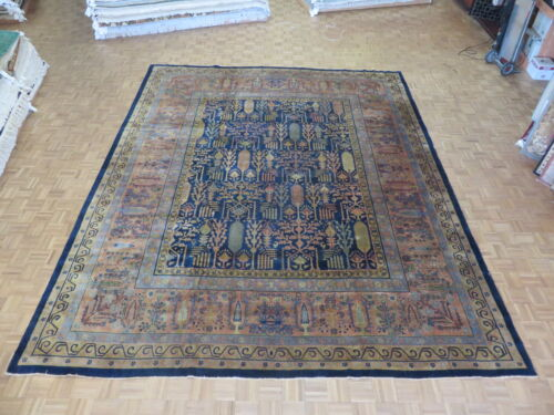 12 X 14'7 Hand Knotted Navy Blue Persian Antique Hamadan Oriental Rug G2496
