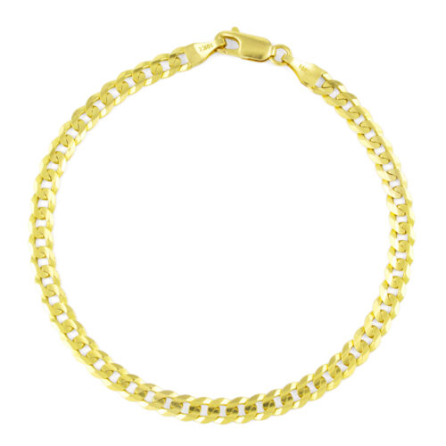 """Real 10K Yellow Gold 5MM SOLID Cuban Link Curb Chain Bracelet Lobster Clasp- 8"""""""