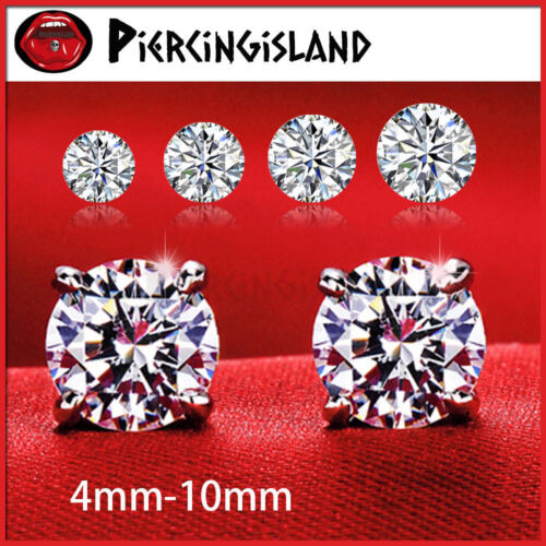 18K WHITE GOLD GF MENS WOMEN KID SILVER CRYSTAL CT SIGNITY DIAMOND STUD EARRINGS