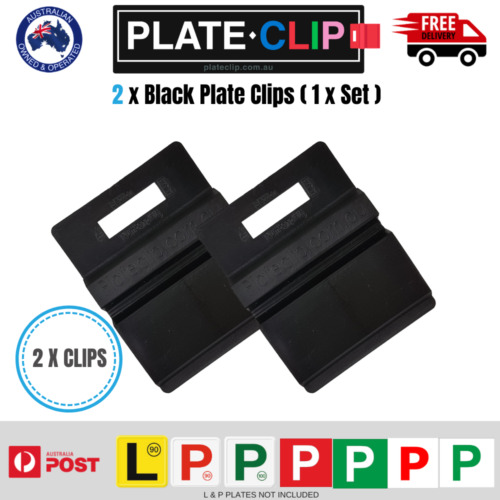 2 x Black Plate Clips L & P Plate Holders | Clip It On | FREE Postage!