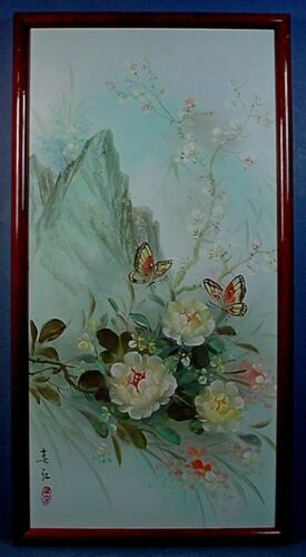 CHINESE OIL ON CANVAS 'BUTTERFLIES & FLOWERS' PAINTING by LEI LEUNG