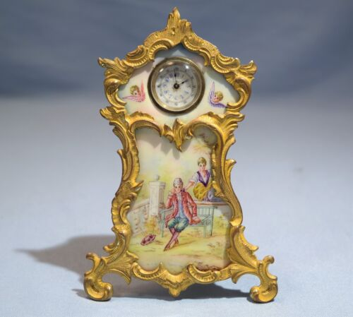 Vienna Enamel Painted Plaque Austrian Gilt Bronze Easel Form Clock Circa 1900
