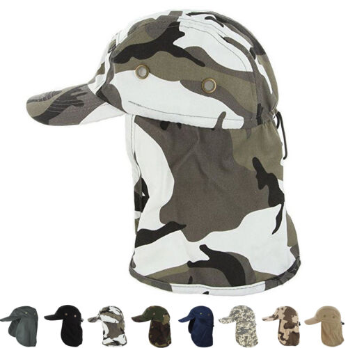 Baseball Cap Camping Boonie Fishing Ear Flap Sun Neck Cover Visor Camo Army Hat