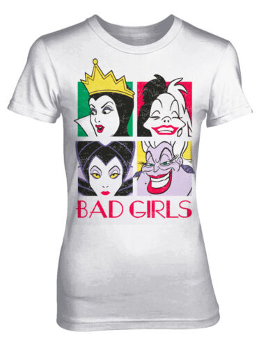 Official Disney Bad Girls Villainesses Maleficent Cruella White Womens T-shirt