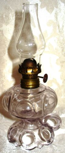 *Rare* 1800's Clear Glass Miniature Finger Oil Lamp turning Purple