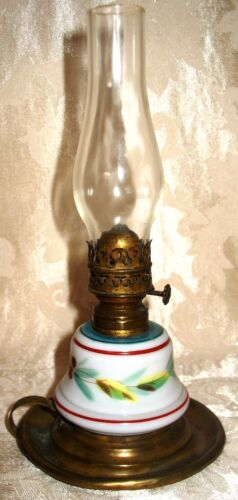 *RARE* 1800's Hand Painted Miniature Finger Oil Lamp with Hammered Brass Base