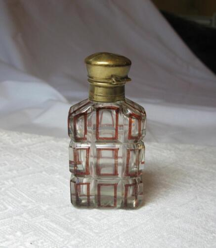 Antique French Perfume Bottle Cut Crystal Art Glass Red Enamel 1800s France