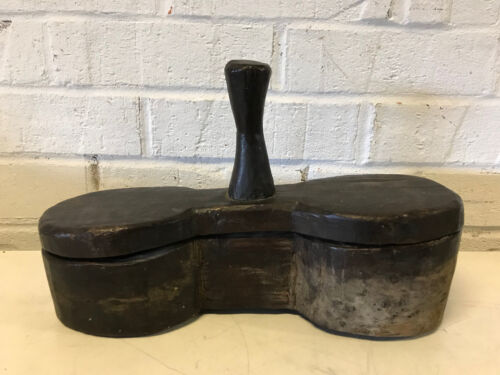 Antique Old Primitive RARE New England Brown Painted Wood Double Salt