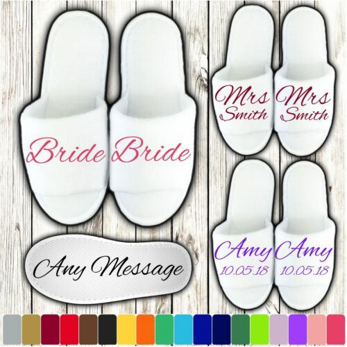 WHITE WEDDING SLIPPERS PERSONALISED PRINT NOVELTY BRIDAL PARTY SPA OPEN TOE AB