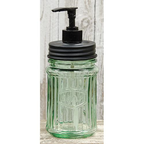 New Primitive Vintage GREEN HOOSIER JAR SOAP DISPENSER Dish Shampoo Pump Holder