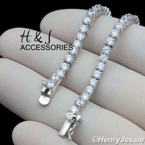 """MEN 14K WHITE GOLD FINISH 16""""-30""""X4MM ICED BLING 1 ROW TENNIS CHAIN NECKLACE*BN2"""