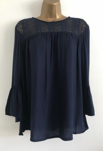 NEW Ex DP: Navy Lace Contrast Flare Bell Sleeve Scoop Neck Blouse Top Size 8-18