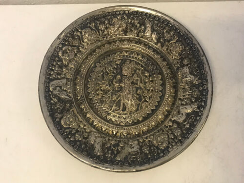 Antique Asian Chinese Tibetan Silver Alloy Repousse Charger Plate Buddha Animals