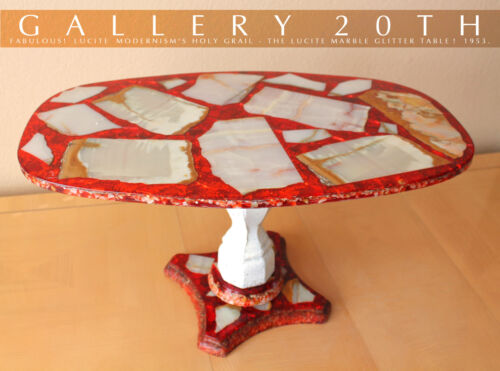 STUNNING! MID CENTURY MODERN ATOMIC LUCITE & MARBLE TABLE! 50'S EAMES LASZLO VTG