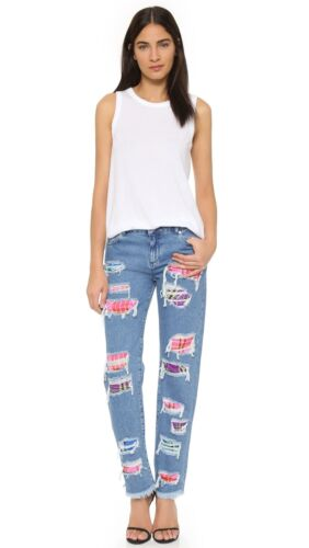 House of Holland Tartan Patch Boyfriend Jeans size 8,10,12RRP£225.REDUCED..£40!!