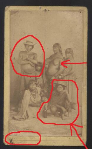 Original CDV France Martinique Family Native American Indian Hindus Naked breast