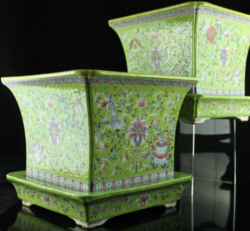 PAIR of 19ThC CHINESE LIME GROUND FAMILLE ROSE PORCELAIN PLANTERS FLOWER POTS