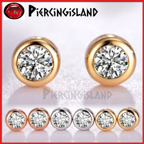 18K GOLD MENS LADY KID ROUNG BEZEL CRYSTAL CT SIGNITY DIAMOND STUD EARRINGS GIFT