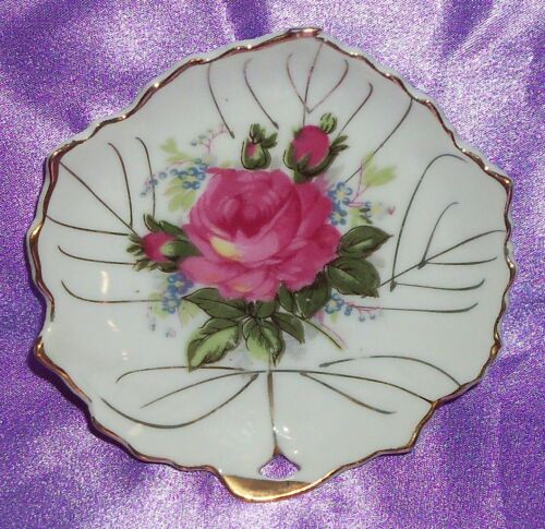 Estate Collectable Japan Small Gold Rim Rose Leaf Pin / Butter Pat Dish Vintage