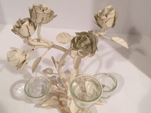 VTG TOLE METAL TABLE TOP VOTIVE CANDLE HOLDER ROSES LEAVES SHABBY