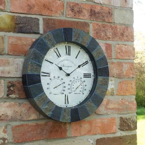 """Outdoor Sandstone Effect Wall Clock and Thermometer Garden Display Slate 14"""" dia"""