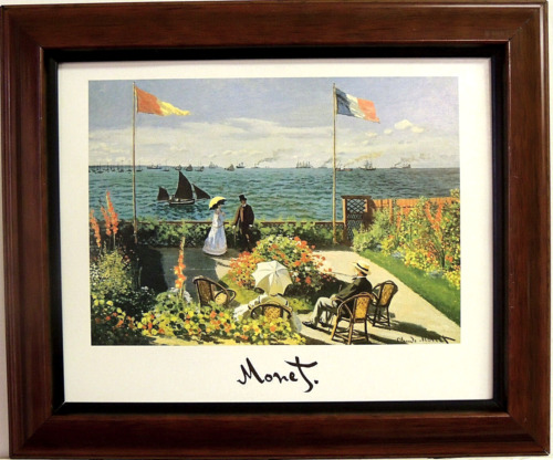 MONET PICTURE THE TERRACE AT SAINTE - ADRESSE 1867  FRAMED PRINT 8X10