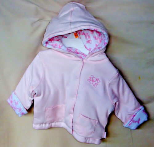 """LITTLE ME 100% COTTON Light Pink """"MELODY ROSE"""" REVERSIBLE HOODIE JACKET GIRL NWT"""