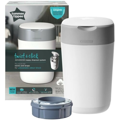 Tommee Tippee Nappy Disposal Bin/Stores up tp 28 nappies hygienically/kills 99%