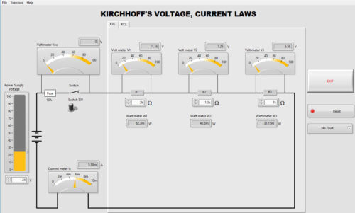 Kirchhoff's Current Voltage Laws Simulator Software to do practical exercises