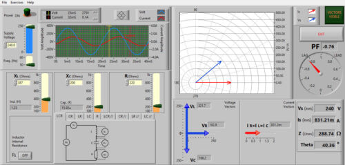 Impedance Software Simulator for series parallel ac circuit practical exercises