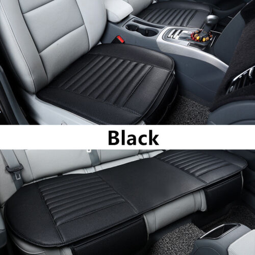3x Car Front Rear Seat Cover Cushion Bamboo Breathable Chair Mat Pad PU Leather