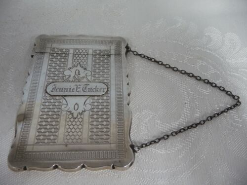 VINTAGE COIN SILVER CHASED CARD CASE ON A CHAIN, ENGRAVED, 1920-1930