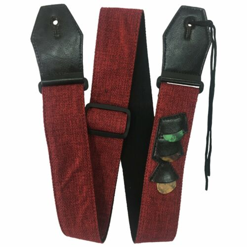 Guitar Strap RockYou S2561 Cotton/Linen, Genuine Leather Ends 3 Pics - RED